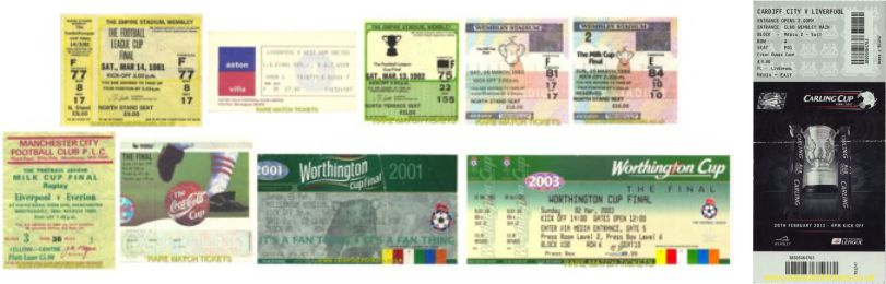 8 winning league cup finals tickets (plus 2 replays)
